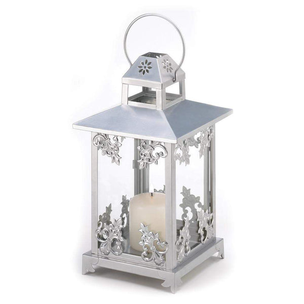 Silver Scrollwork Candle Lantern-Candle Lanterns-Across The Counter