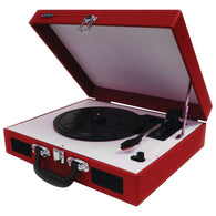Jensen Portable 3-speed Stereo Turntable With Built-in Speakers (red)-Turntables and Record Players-Across The Counter