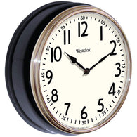 "Westclox 12"" Round Vintage Kitchen Classic Clock Black-Clocks-Across The Counter"