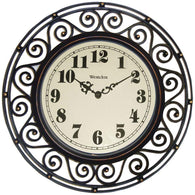 "Westclox 12"" Round Filigree Rubbed Bronze Finish Clock-Clocks-Across The Counter"