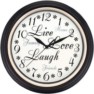 "Westclox 12"" Round Live Love Laugh Message Clock-Clocks-Across The Counter"