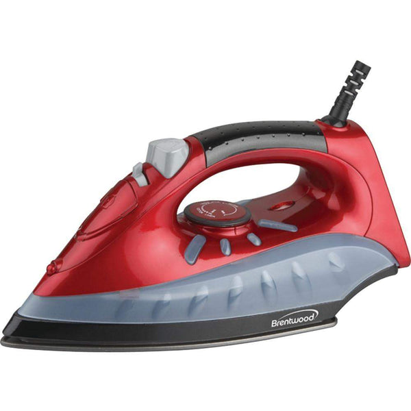 Brentwood Non-stick Steam And Dry Spray Iron (red)-Irons and Steamers-Across The Counter