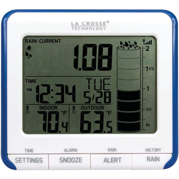 La Crosse Technology Digital Rain Gauge With Outdoor Temperature Sensor-Garden Tools-Across The Counter