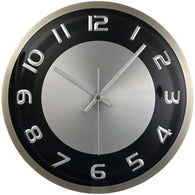 "Timekeeper 11.5"" Round Wall Clock With Brushed Metal Case-Clocks-Across The Counter"