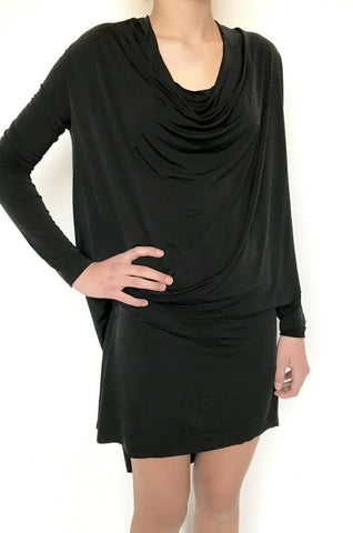 AllSaints Amei LS Black Dress. Retails $215 Price $98 NWT Silky Stretch Size M