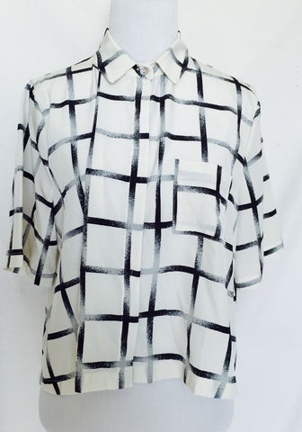 ACHRO Ivory Gray And Black Checked Boxy Blouse. NWT Size Small $29