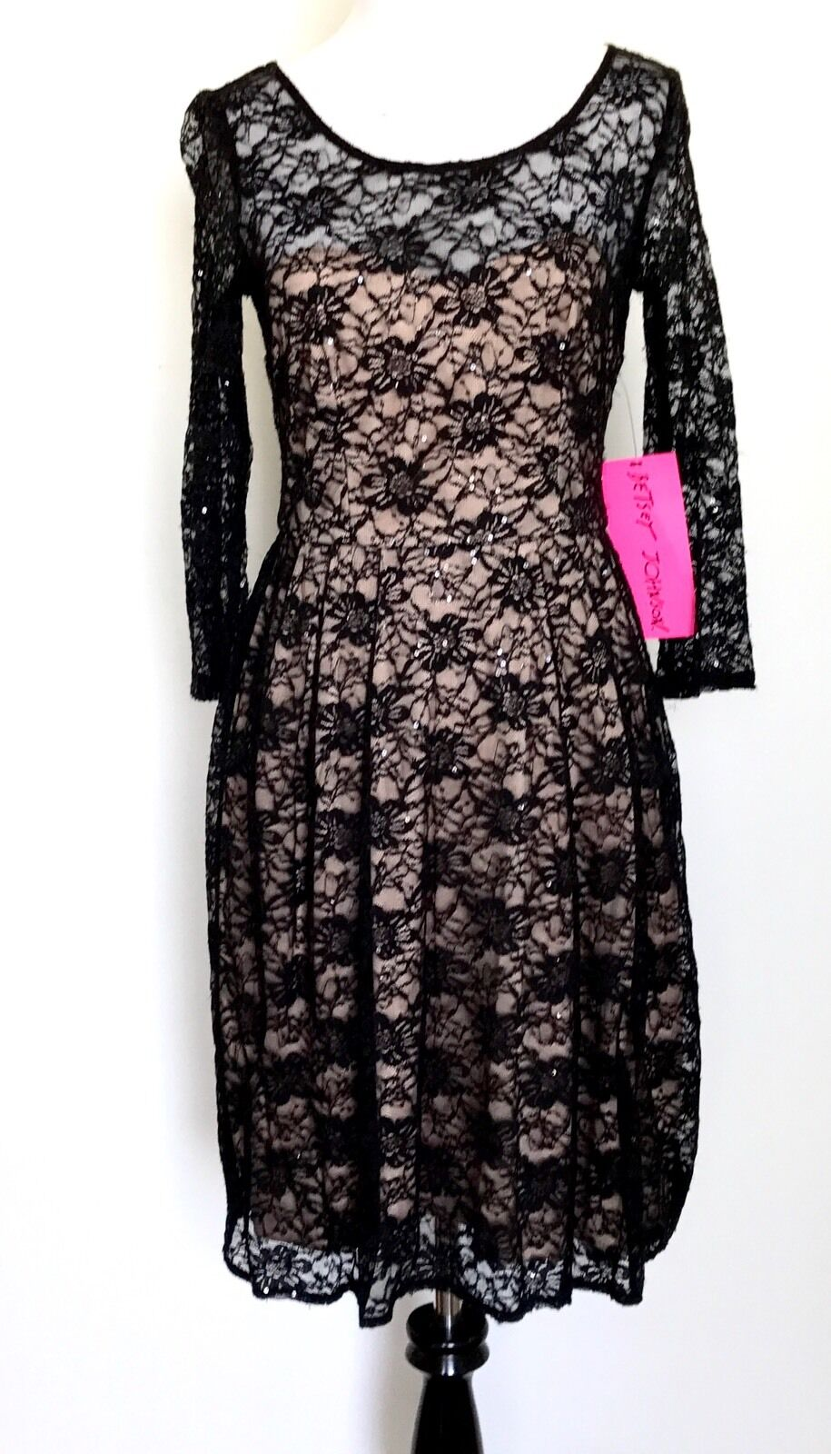 Betsey Johnson Black Lace & Nude Dress. Size 2. Retails $148 Price $54 NWT