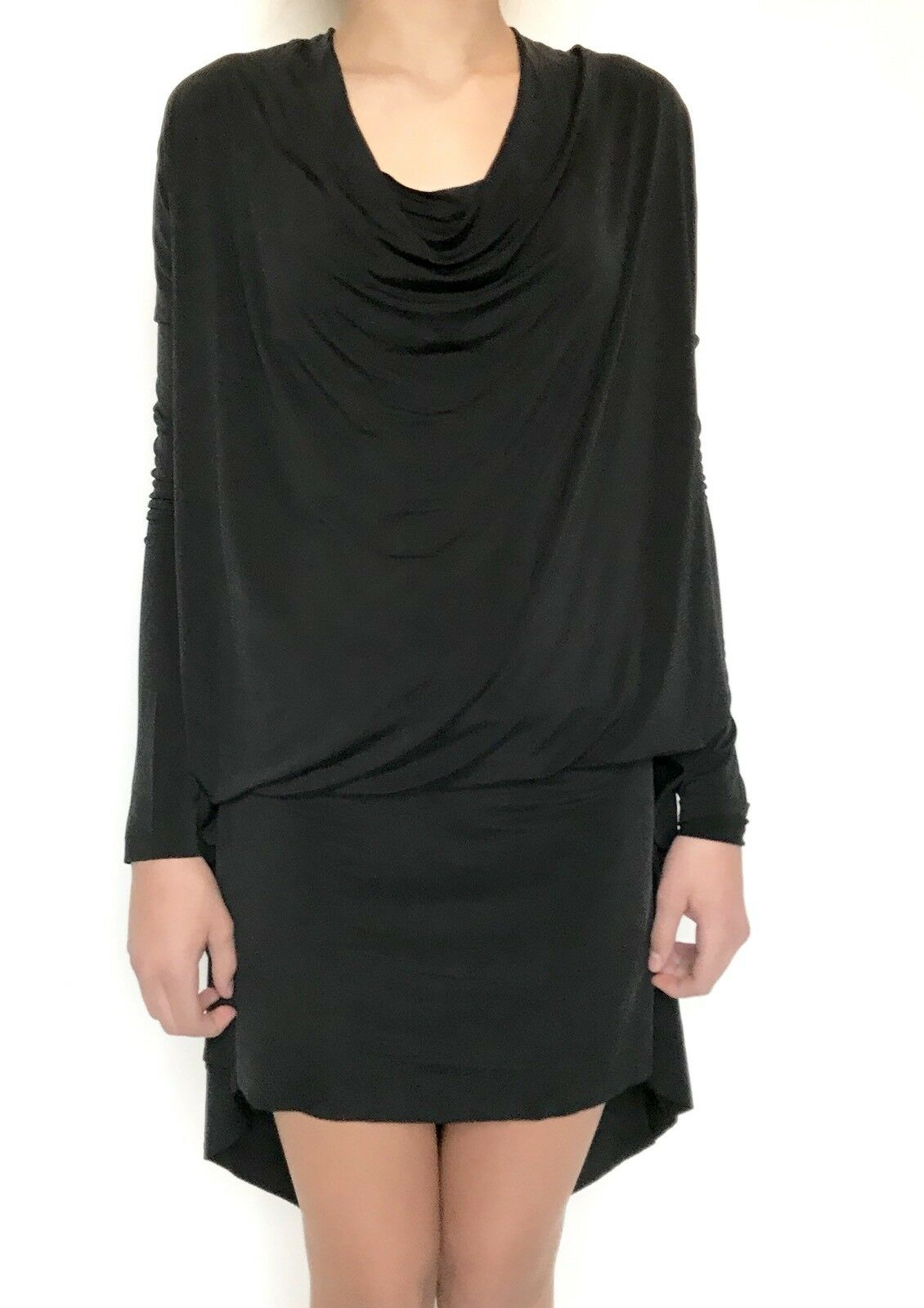 AllSaints Amei LS Black Dress. Retails $215 Price $98 NWT Silky Stretch Size XS