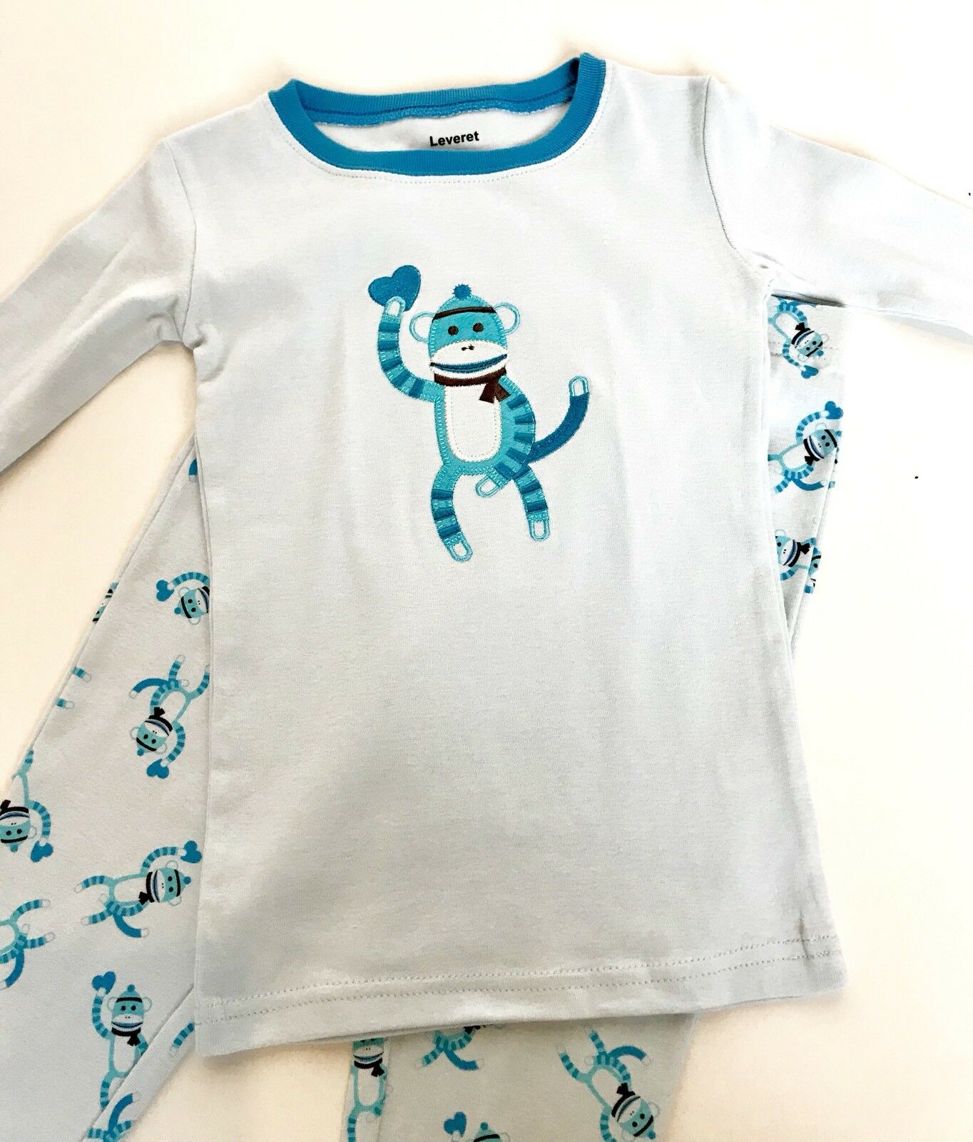 Leveret Appliqué Stitched Blue Monkey PJ's Age 4 Price $18 NWT