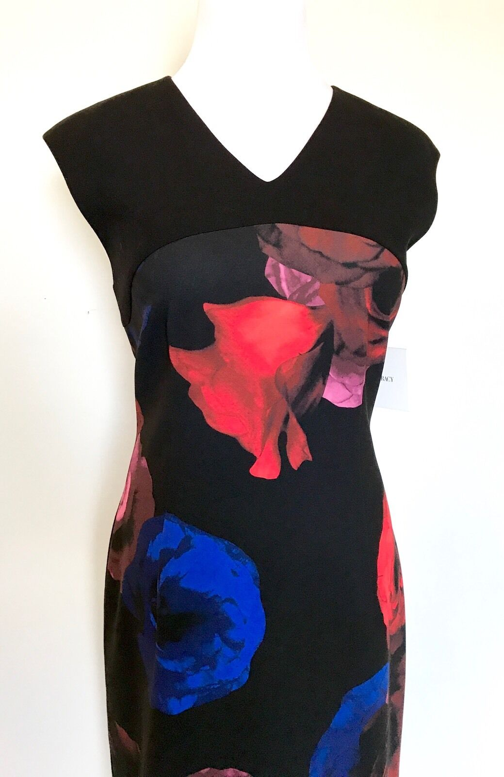 Ellen Tracy Black Red And Blue Rose Dress. NWT Size 10 Retail $149.50 Price $45