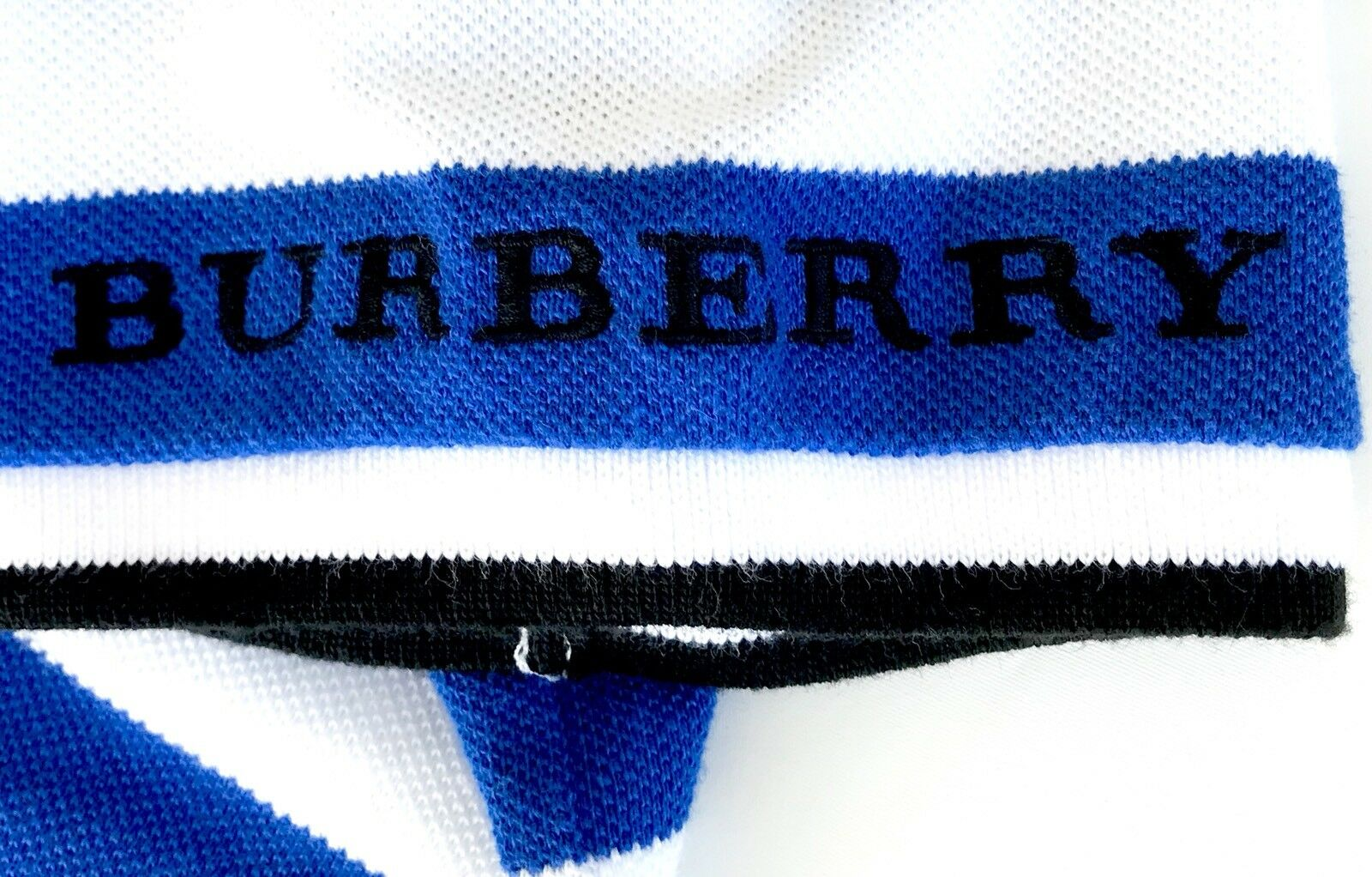 Burberry Blue & White Stripe Polo Shirt. NWT Retails $95 Price $56.98 Age 14