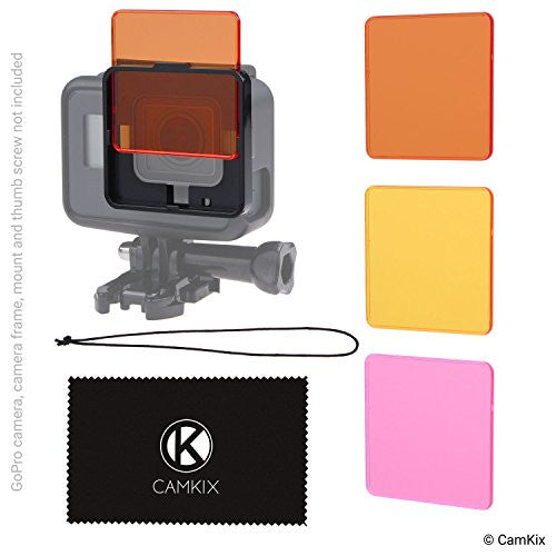 Diving Filter Kit for GoPro Hero 6 / 5 Black - 3 Filters - Frame