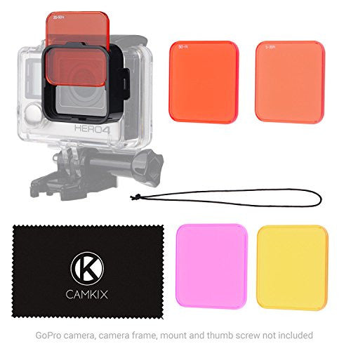 Diving Lens Filter Kit for GoPro Hero 4 and 3+ - Waterproof Housing