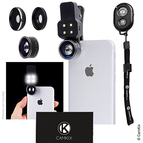 Universal Lens Kit and Shutter Remote Kit with LED Light for Smartphone and Tablet