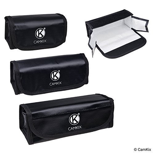 Fire Resistant LiPo Battery Bags - 3 Pack (Large, Medium, Small)