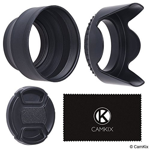 Rubber Collapsible and Tulip Flower Lens Hoods with Lens Cap Set - 58mm