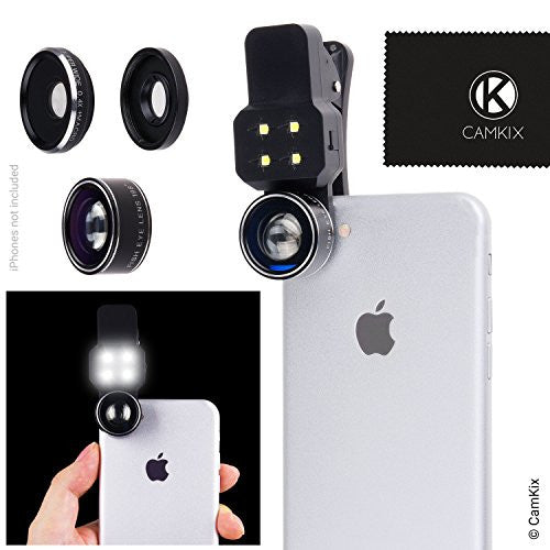 Universal 3in1 Lens Kit with LED for Smartphone and Tablet