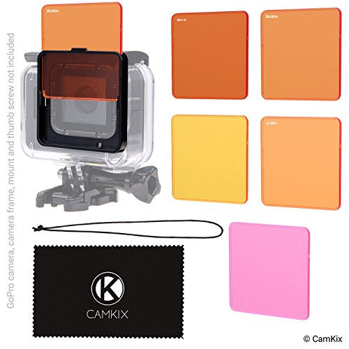 CamKix Diving Lens Filter Kit Compatible with GoPro Hero 5 and Hero 4 Session Camera Enhances Colors for Various Underwater Video and Photography Conditions