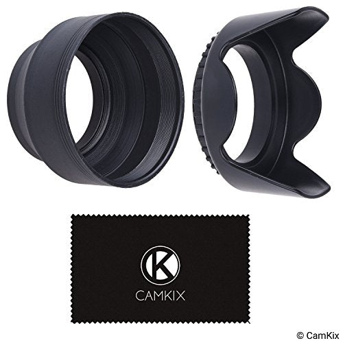 Camera Lens Hoods - 52mm - Rubber (Collapsible) + Tulip Flower - Set of 2