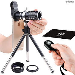 Universal 3in1 Lens Kit with Bluetooth Remote Control Camera Shutter + 12x Telephoto + Macro + Wide Angle Lenses
