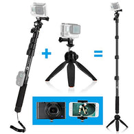 Pole 16 - 47 Inch and Tripod Base Kit for GoPro Hero, Camera and Smartphone