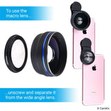 Universal 3in1 Lens Kit with Bluetooth Remote Control Camera Shutter + 18x Telephoto + Macro + Wide Angle Lenses