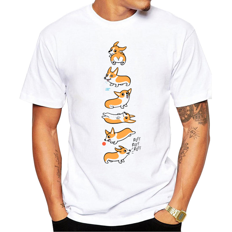Men's White Corgi printed T-shirt