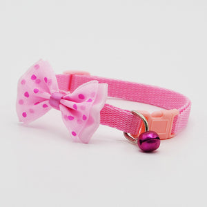 Cute Adjustable Polyester Collar with Bowknot and Bells - Necklace