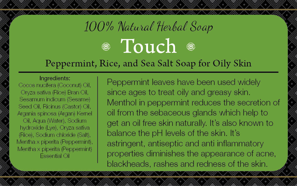 BS07: TOUCH: Peppermint, Rice, and Sea Salt Soap