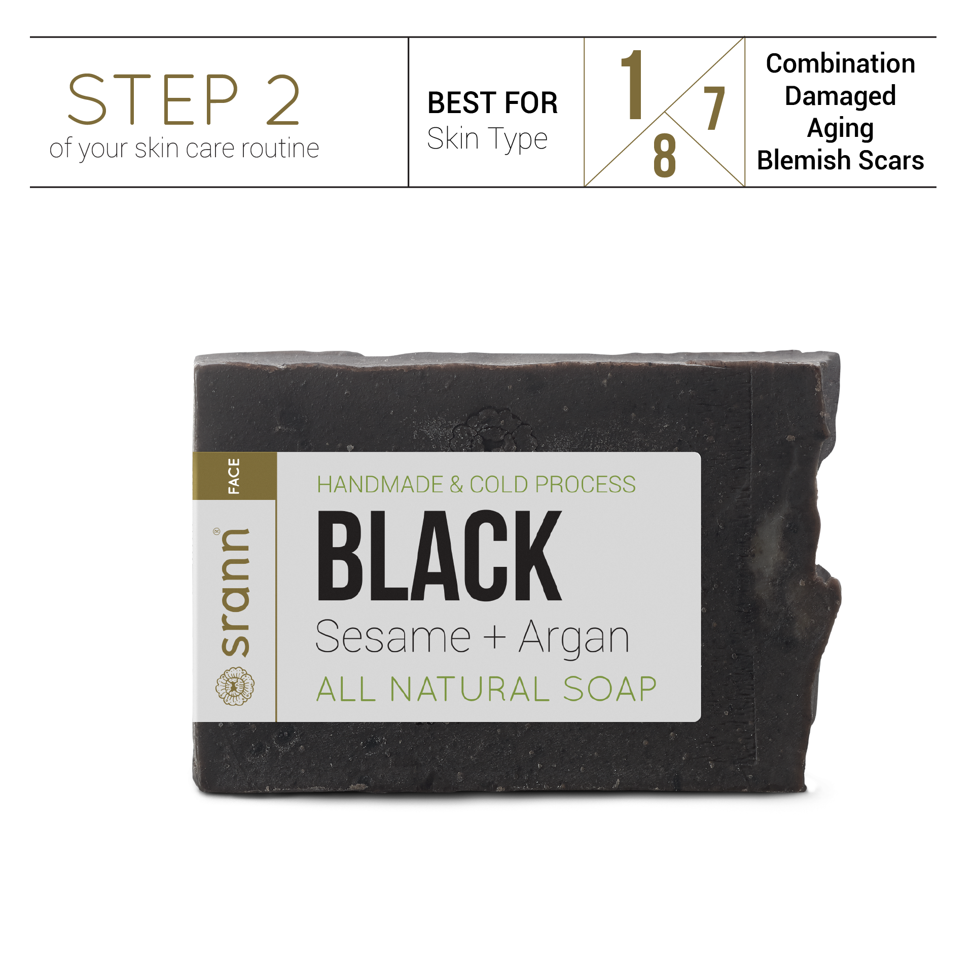 BLACK Sesame + Argan Soap - SRANN