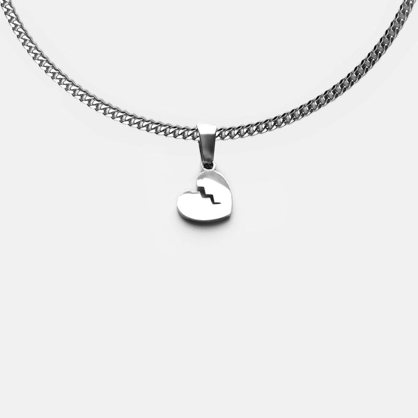 HEART BREAK CUBAN NECKLACE RARE-ROMANCE™️ RARE-ROMANCEJewelry - Jewelry - Fashion - silver - gold - necklace - pendant  - chain - choker