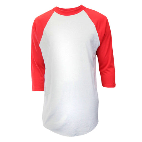 White & Red 3/4 Sleeve Custom Baseball Jersey
