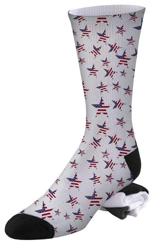 Red White and Blue Star Spangled Socks