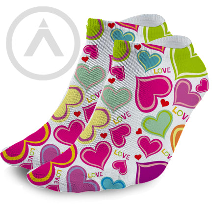A Love for Neon Hearts No-show Socks