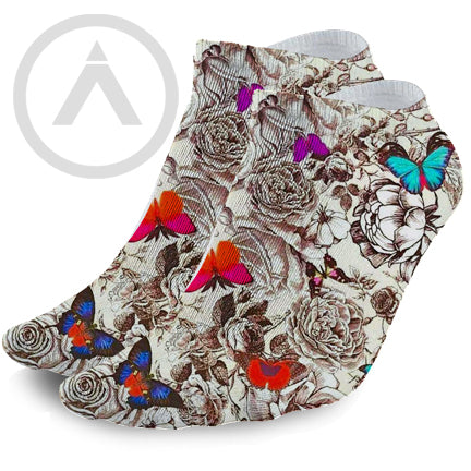 Women's Classic Butterfly Tattoo Ink Art Design Ankle Socks