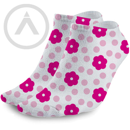Pink Flower and Polka Dot Ankle Socks
