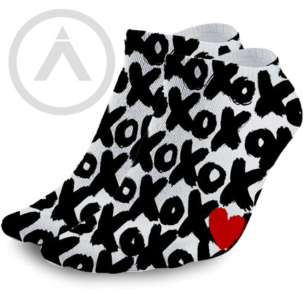X's and O's Hugs and Kisses Love Ankle Socks