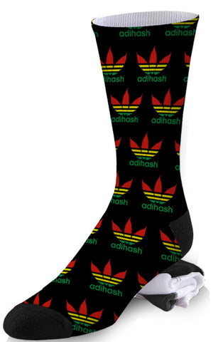Black Addidas Hash Weed Pot Leaf Socks