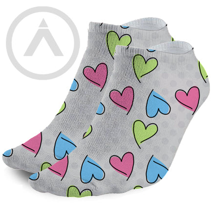 Fun Colorful Painted Hearts on Grey Ankle Socks