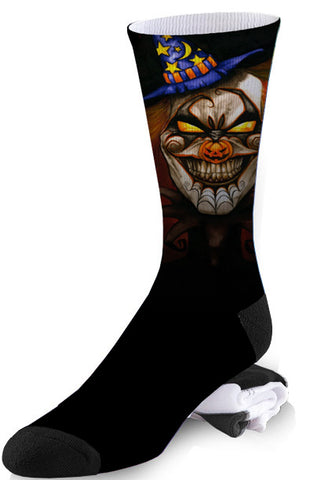 Evil Carnival Black Magic Horror Clown Socks