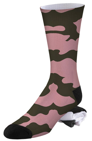 Brown and Pink Camo Socks