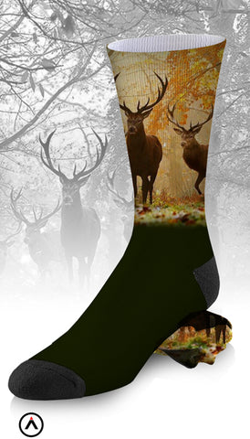 Deer Art and Hunter Green Socks