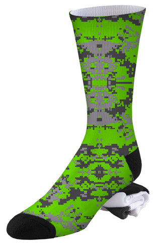Two-toned Grey and Bright Green Digital Camo Socks