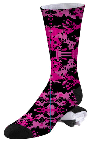 Two-toned Pink and Black Digital Camo Socks