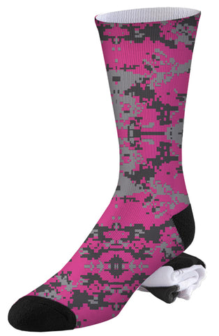 Pink and Two-toned Grey Digital Camo Socks