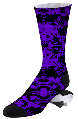 Purple-Blue and Black Digital Camo Socks