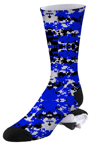 Blue, Black and White Digital Camo Socks