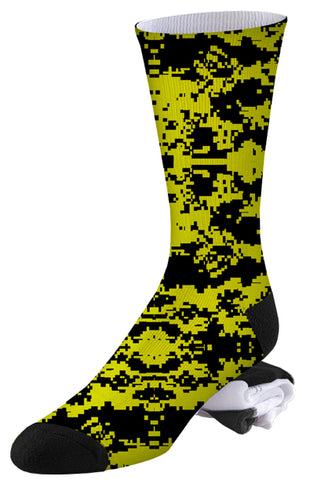Yellow and Black Digital Camo Socks