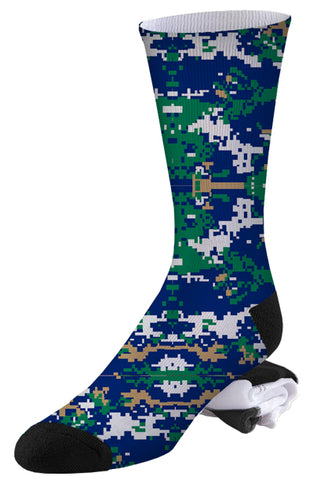 Blue, Tan, White and Green Digital Camo Socks