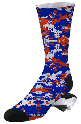 Blue, Orange and White Digital Camo Socks
